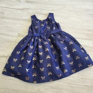 GYMBOREE gold &blue bowtie dress 3T